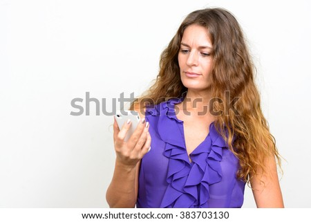Mature woman using phone