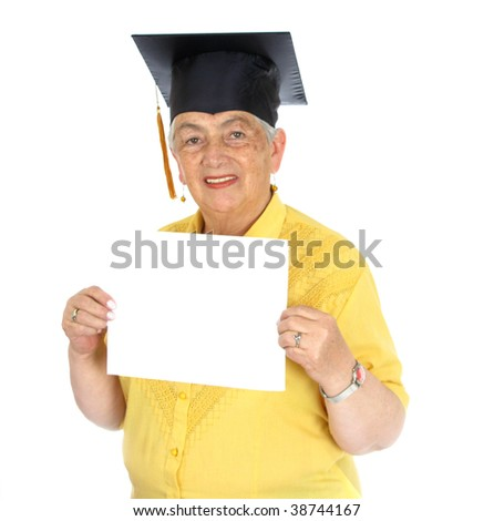 Mature woman wearing cap over white background - stock photo
