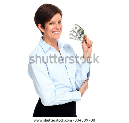 Mature woman with american dollars money isolated on white.