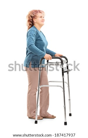 Mature woman with walker looking up isolated on white background