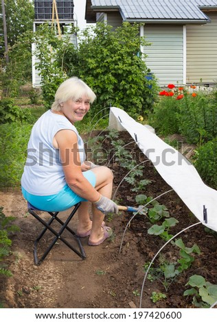 Mature woman working in her garden in June - stock photo