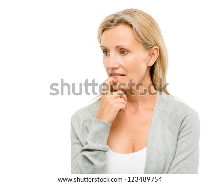 Mature woman worried about the future isolated on white background