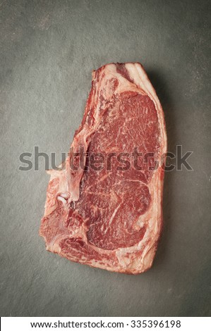 Matured piece of raw meat, beef dry edge