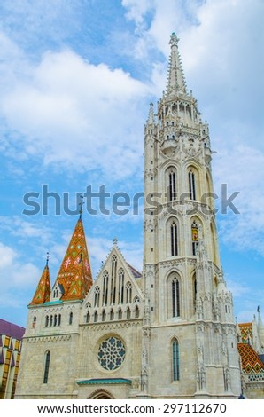 matyas temple close to halszbastya - fishermans bastion in hungarian capital budapest. - stock photo