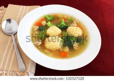 Matzo ball soup for Passover - stock photo