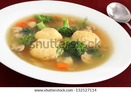 Matzo ball soup for  Passover close up - stock photo