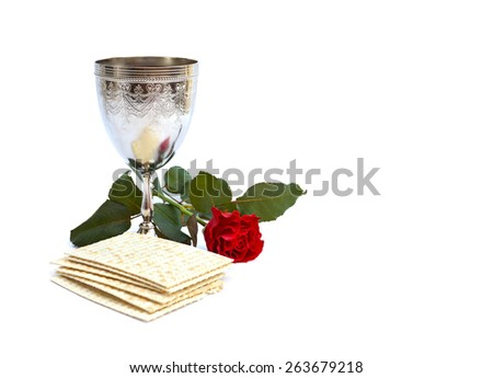 Matzo, wine, red rose for passover celebration - stock photo