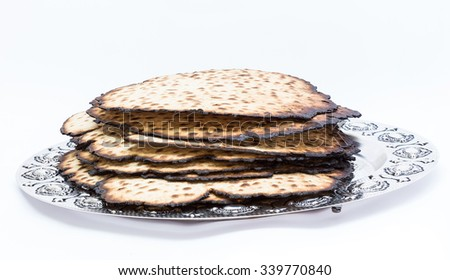 Matzos for Passover. Handmade with A silver bowl  - stock photo