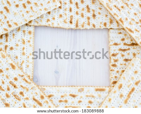 Matzot for passover celebration with copy space - stock photo