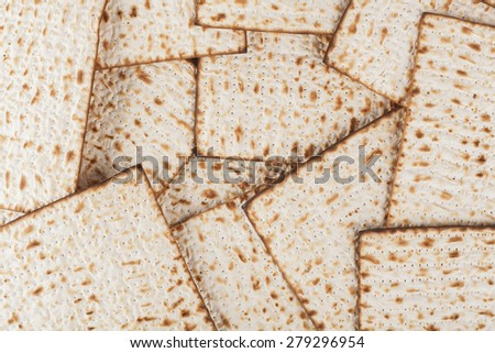 Matzot for pesach pile isolated on white background
