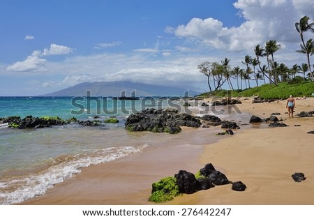 MAUI, HI -30 MARCH 2015- A walking path along the ocean connects all the resorts in the Wailea area, on the West shore of the island of Maui in Hawaii.