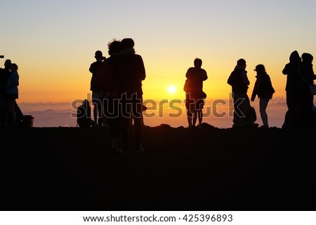 MAUI, HI -25 MARCH 2016- The top of the Haleakala Volcano is the most popular spot to watch the sunset in Maui, Hawaii.