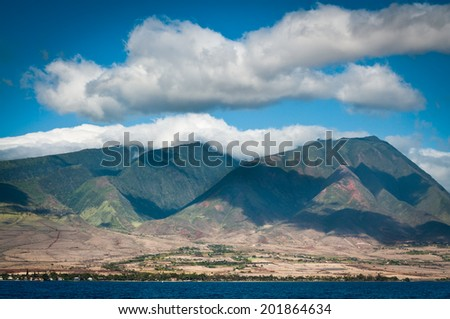 Maui mountains along the north coast in spring - stock photo