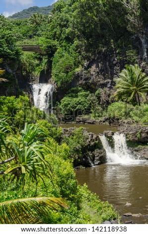Maui waterfall with lush tropical vegetation - stock photo