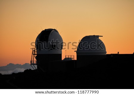 Mauna Kea Astronomical Observatory at sunset, Haleakala National Park (Maui-Hawaii) - stock photo