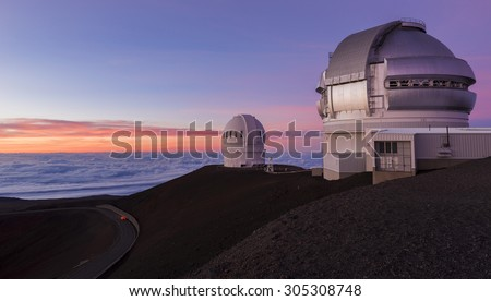 Mauna Kea telescopes at sunset. Big Island, Hawaii