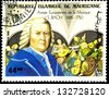 "MAURITANIA - CIRCA 1985: A stamp printed in Mauritania shows portrait of Johann Sebastian Bach, inscription and series ""European Music Year - 300 years of birth of JS Bach (1685 � 1750)"", circa 1985 - stock"