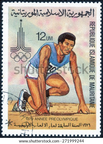 "MAURITANIA - CIRCA 1979: stamp printed by Mauritania, shows a series of images ""Olympic Games 1980"", circa 1979 - stock photo"