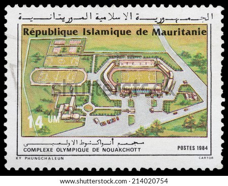 MAURITANIA - CIRCA 1984: stamp printed by Mauritania, shows Olympic Complex, circa 1984