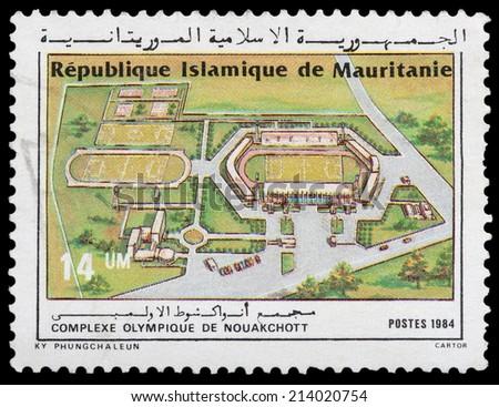 MAURITANIA - CIRCA 1984: stamp printed by Mauritania, shows Olympic Complex, circa 1984 - stock photo