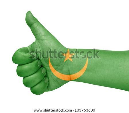 Mauritania flag on thumb up gesture like icon on white background - stock photo