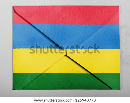 Mauritania flag  painted on grey envelope
