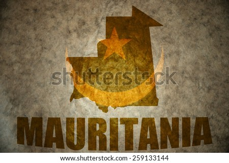 mauritania map on a vintage mauritania flag background - stock photo