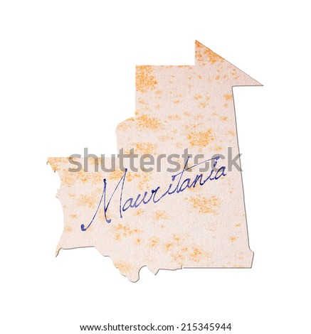 Mauritania - Old paper with handwriting, blue ink - stock photo