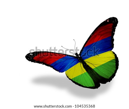 Mauritius flag butterfly flying, isolated on white background - stock photo
