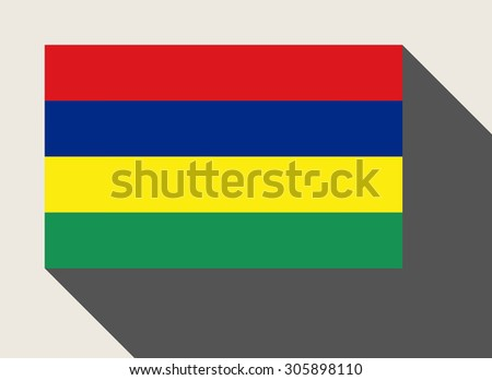 Mauritius flag in flat web design style. - stock photo