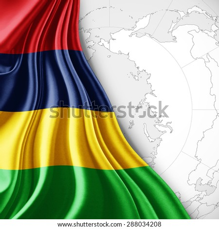 Mauritius  flag of silk with world map and white background - stock photo