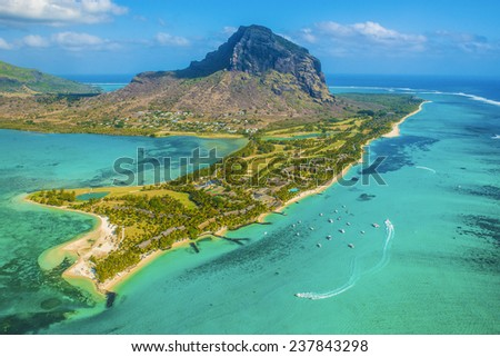 Mauritius from the helicopter - stock photo