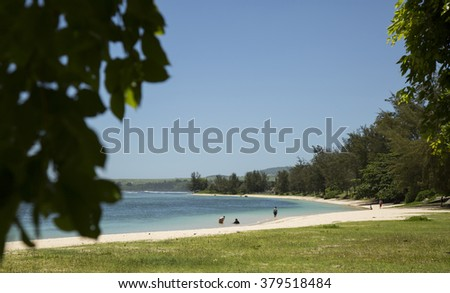 Mauritius island indian ocean Riviere des Galetts beach - stock photo