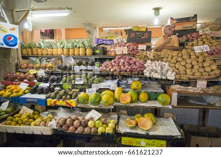 MAURITIUS, MAY 22, 2017.  Groceries for sale in the main market Grand Mark of Port Louis, in Mauritius on May 22nd 2017.