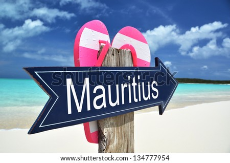 Mauritius sign at the tropical beach - stock photo