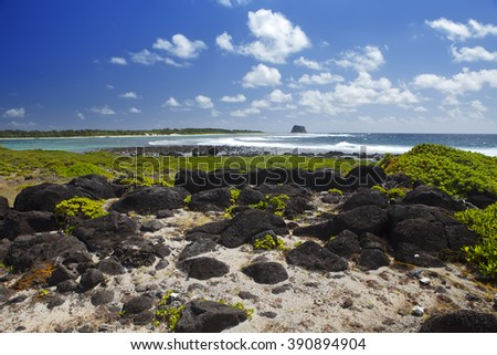 Mauritius. Stony landscape of the island Gabriel. - stock photo