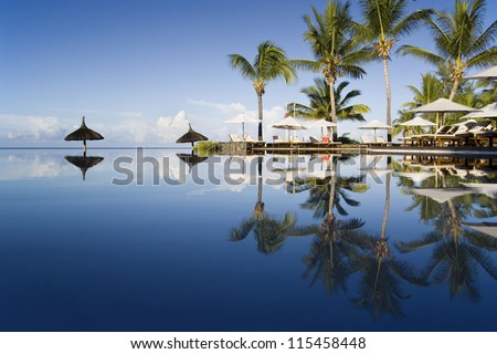 Mauritius - the fine vacation spot at any time years. Good hotels and excellent beaches. Warm sea. - stock photo