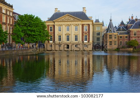 Mauritshuis building over pond, Den Haag,  Netherlands