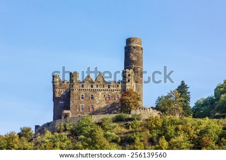 Maus Castle is located on the high bank of the Rhine River, Germany - stock photo