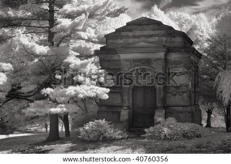 Mausoleum in infrared.