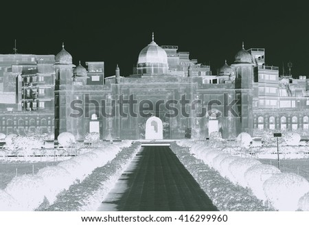 Mausoleum of Bibipari in Lalbagh fort, Dhaka, Bangladesh - Negative Effect - stock photo