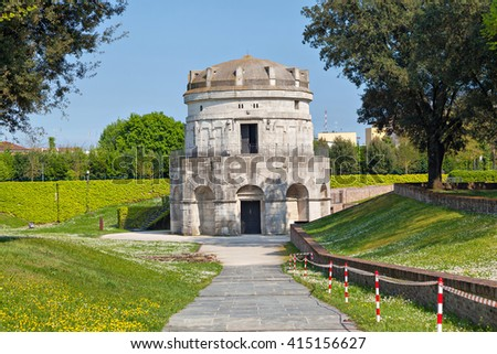 Mausoleum of Theoderic -  an ancient monument  built in 520 AD by Theoderic the Great as his future tomb. Ravenna, Emilia-Romagna, Italy