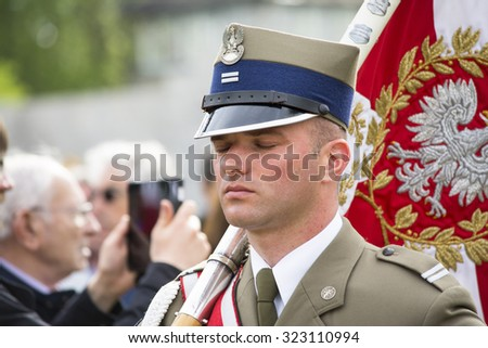 MAUTHAUSEN,AUSTRIA-MAY 10.2015: military celebration of the Mauthausen camp liberation by all the countries involved paying tribute to the fallen