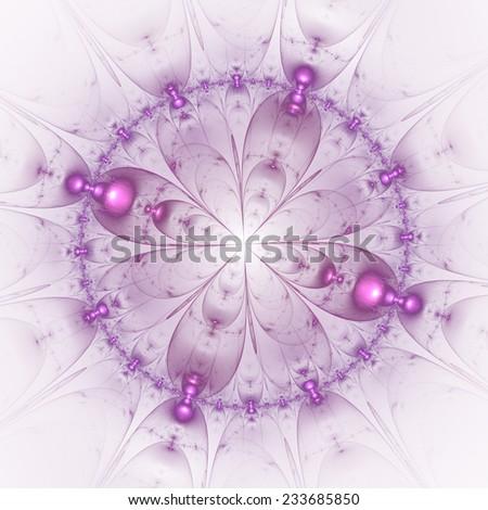 Mauve abstract fractal mandala on white background - stock photo