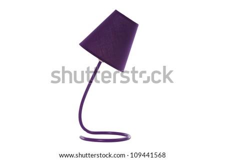 mauve desk lamp isolated on white - stock photo