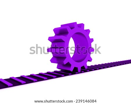 mauve gear on railway  - stock photo