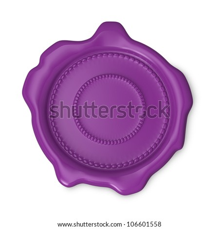 Mauve seal of approval on white background - stock photo