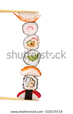 Maxi sushi, isolated on white background - stock photo