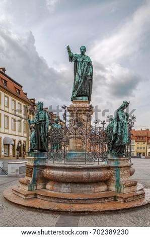 Maximilian fountain on Maximilian square in Bamberg, Germany