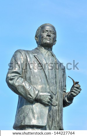 Maximo V. Soliven's statue at Manila bay, Philippines Icon of freedom, Fearless journalist - stock photo